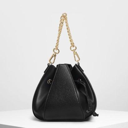 メタリックドローストリング バケツバッグ / Metallic Drawstring Bucket Bag (Black)