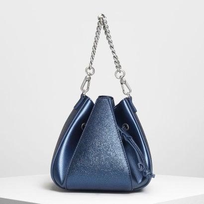 メタリックドローストリング バケツバッグ / Metallic Drawstring Bucket Bag (Blue)