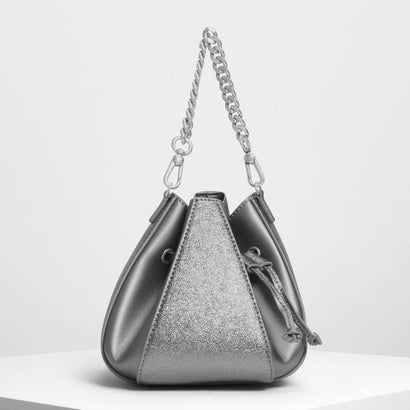 メタリックドローストリング バケツバッグ / Metallic Drawstring Bucket Bag (Silver)