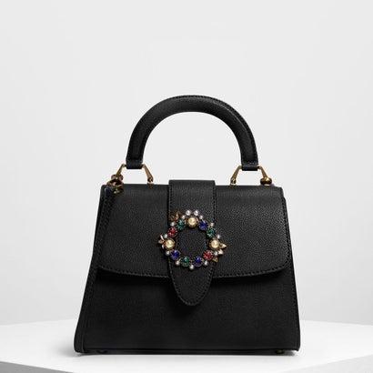 エンベリッシュ バックルディテールバッグ / Embellished Buckle Detail Bag (Black)