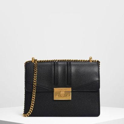プッシュロック フロントフラップバッグ / Push Lock Front Flap Bag (Black)