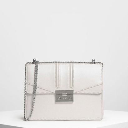 プッシュロック フロントフラップバッグ / Push Lock Front Flap Bag (Pearl)