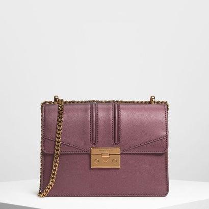 プッシュロック フロントフラップバッグ / Push Lock Front Flap Bag (Prune)