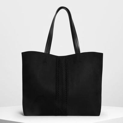 ウェーブディテール トートバッグ / Weave Detail Tote Bag (Black)