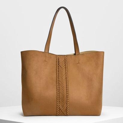 ウェーブディテール トートバッグ / Weave Detail Tote Bag (Cognac)