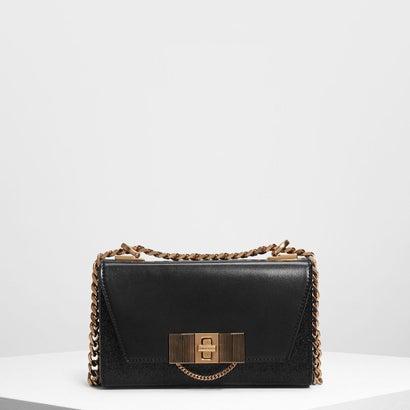チェーンディテール ターンロックバッグ / Chain Detail Turn Lock Bag (Black)