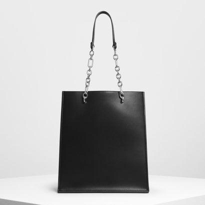 チェーンストラップ ハンドルトートバッグ / Chain Strap Handle Tote Bag (Black)