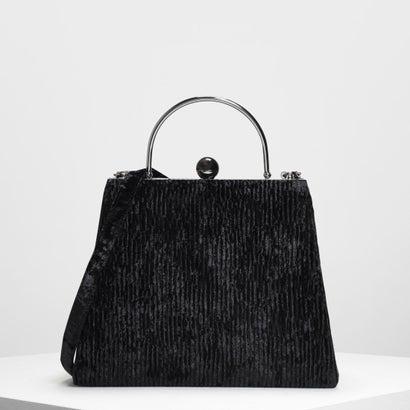 オーブデティール プッシュロックハンドバック / Orb Detail Push Lock Handbag (Black)