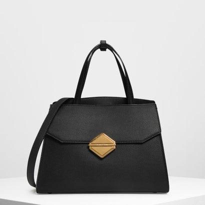 メタリックアクセント ハンドバッグ / Metallic Accent Handbag (Black)