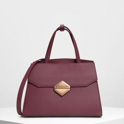 メタリックアクセント ハンドバッグ / Metallic Accent Handbag (Prune)