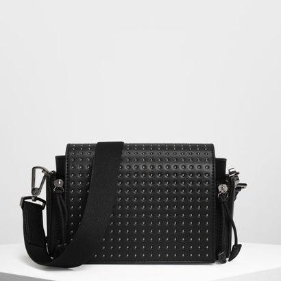 フロントフラップ クロスボディバッグ / Front Flap Crossbody Bag (Black Textured)
