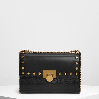 スタッズディテール プッシュロックバック / Stud Detail Push Lock Bag (Black)