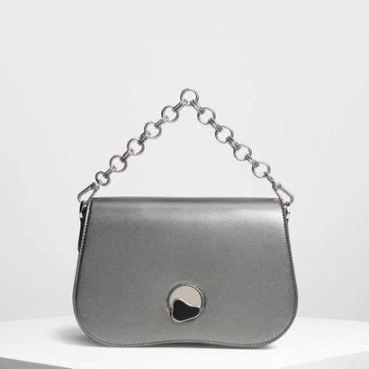 カーブドエッジ クロスボディバッグ / Curved Edge Crossbody Bag (Pewter)