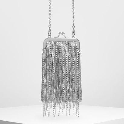 クリスタルエンベリッシュド フリンジディテールバッグ / Crystal Embellished Fringe Detail Bag (Si