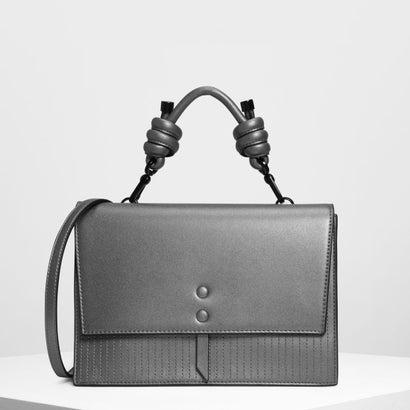 ノッテドディテール ハンドルバッグ / Knotted Detail Handle Bag (Pewter)