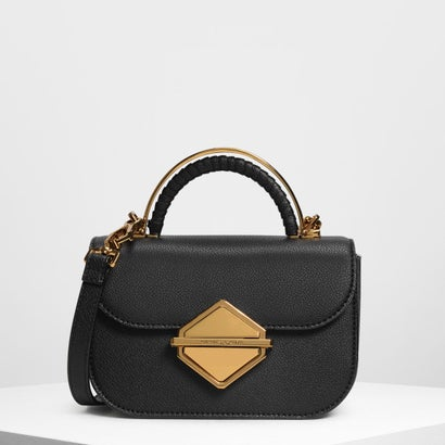 メタリックアクセント トップハンドルバッグ / Metallic Accent Top Handle Bag (Black)