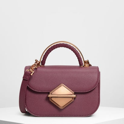 メタリックアクセント トップハンドルバッグ / Metallic Accent Top Handle Bag (Prune)