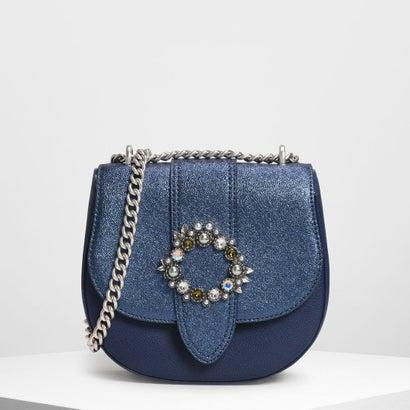 ジェムエンベリッシュドバックル クロスボディバッグ / Gem Embellished Buckle Crossbody Bag (Blue