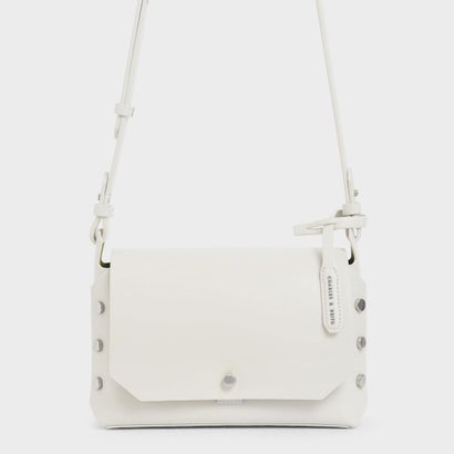 【再入荷】フロントフラップ レクタングルクロスボディバッグ / Front Flap Rectangle Crossbody Bag (Cream)