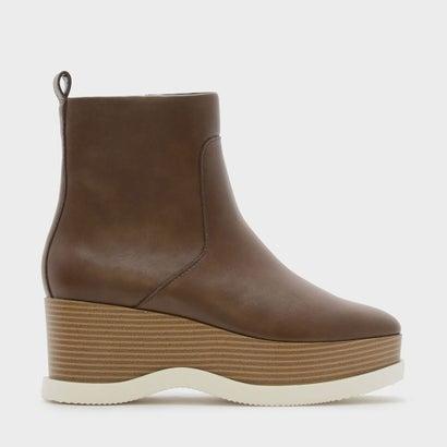 プラットフォームカフブーツ / PLATFORM CALF BOOTS (Brown)