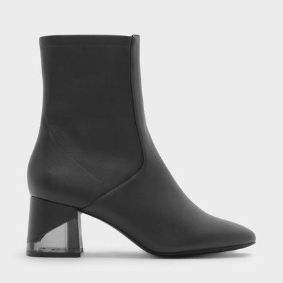 ルーサイトヒールカフブーツ / LUCITE HEEL CALF BOOTS (Grey)
