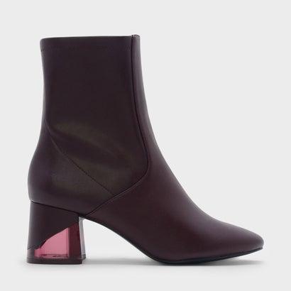 ルーサイトヒールカフブーツ / LUCITE HEEL CALF BOOTS (Purple)