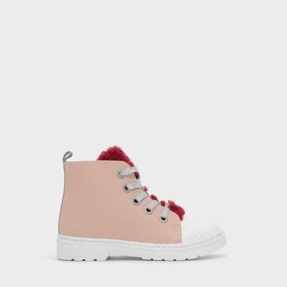 テクスチャードレースアップカフブーツ / TEXTURED LACE-UP CALF BOOTS (Pink)