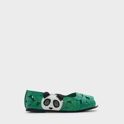 キッズパンダレザーカットフラット / KIDS LASER CUT FLATS (Green)