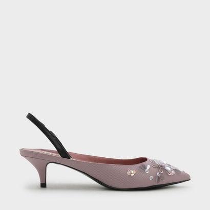 エンベリッシュド スリングバック キトンヒール / EMBELLISHED SLING BACK KITTEN HEELS (Lilac)
