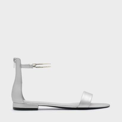 メタリックアンクルストラップサンダル / METALLIC ANKLE STRAP SANDAL (Silver)
