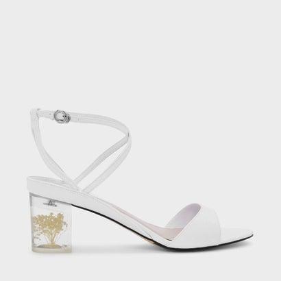 フローラルルーサイトヒールサンダル / FLORAL LUCITE HEEL SANDALS (White)