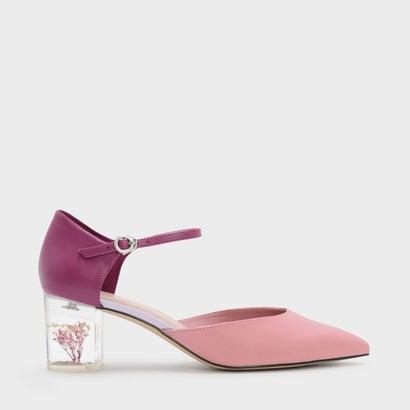 フローラスルーサイトヒールメリージェーン / FLORAL LUCITE HEEL MARY JANES (Pink)