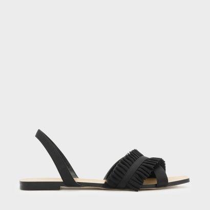 ラッフルディテールスリングバックサンダル / RUFFLE DETAIL SLINGBACK SANDALS (Black)