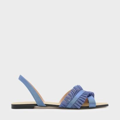 ラッフルディテールスリングバックサンダル / RUFFLE DETAIL SLINGBACK SANDALS (Blue)