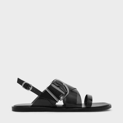 トランスペアレントスリングバックサンダル / TRANSPARENT SLINGBACK SANDALS (Black)
