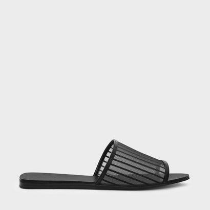 ストライプメッシュスライダー / STRIPED MESH SLIDERS (Black)
