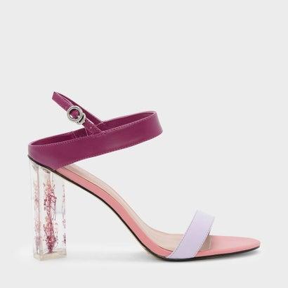 フローラルルーサイトヒールサンダル / FLORAL LUCITE HEEL SANDALS (Pink)