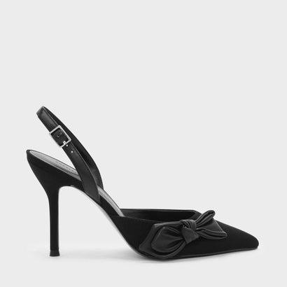 ボウディテールスリングバックヒール / BOW DETAIL SLINGBACK HEELS (Black)