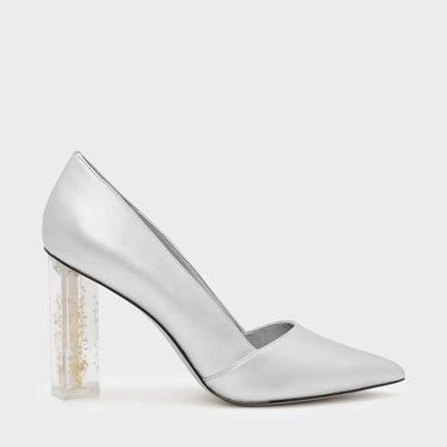 フローラルルーサイトヒールパンプス / FLORAL LUCITE HEEL PUMPS (Silver)