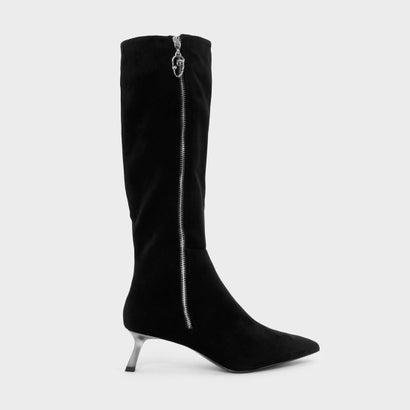 スラントヒールニーブーツ / SLANT HEEL KNEE BOOTS (Black)