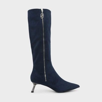 スラントヒールニーブーツ / SLANT HEEL KNEE BOOTS (Dark Blue)