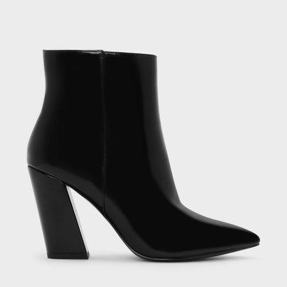 スランテッドブロックヒールブーツ / SLANTED BLOCK HEEL BOOTS (Black)