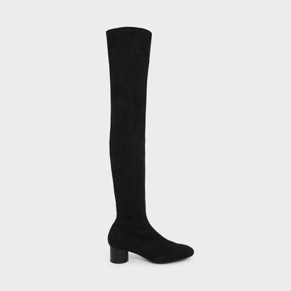 シリンドリカルヒールハイブーツ / CYLINDRICAL HEEL THIGH BOOTS (Black)
