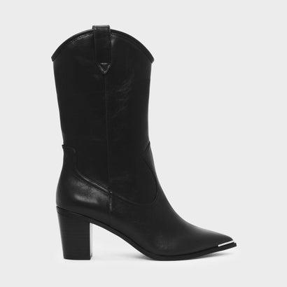 ブロックヒール ウェスタン ブーツ / BLOCK HEEL WESTERN BOOTS (Black)