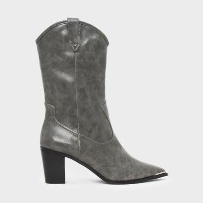 ブロックヒール ウェスタン ブーツ / BLOCK HEEL WESTERN BOOTS (Grey)