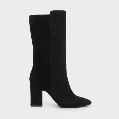 テパードヒールカフブーツ / TAPERED HEEL CALF BOOTS (Black)