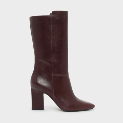 テパードヒールカフブーツ / TAPERED HEEL CALF BOOTS (Burgundy)