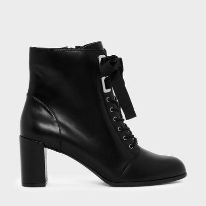 リボンボウブロックヒールブーツ / RIBBON BOW BLOCK HEEL BOOTS (Black)