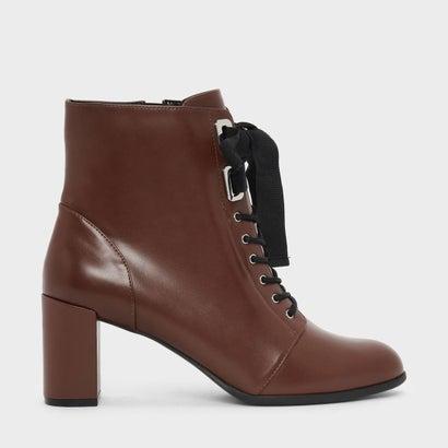 リボンボウブロックヒールブーツ / RIBBON BOW BLOCK HEEL BOOTS (Brown)