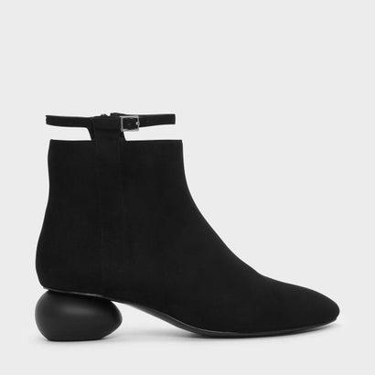 ぺブルヒールカフブーツ / PEBBLE HEEL CALF BOOTS (Black)